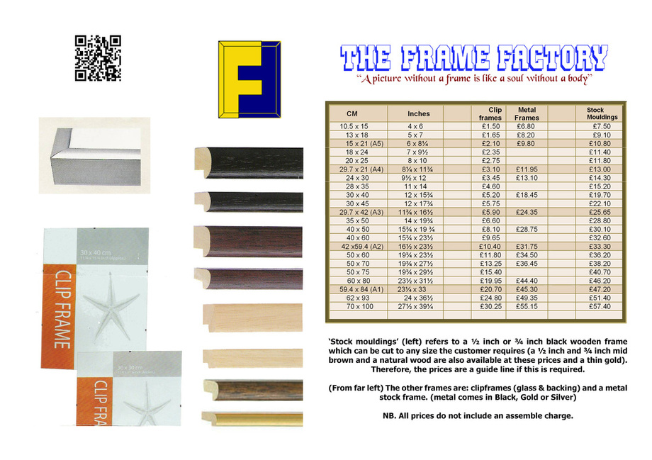 BASIC PRICES - THE FRAME FACTORY: picture framing shop Streatham and ...